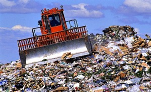 Orange Bulldozer in Landfill
